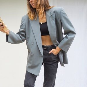 SAGE GREEN/GREY DOUBLE BREASTED OVERSIZED BLAZER